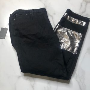 Eloquii Sequin Patch Black Jeans NWT